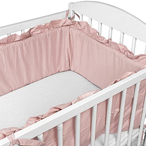 Bettumrandung Nestchen für Babybett 120x60 140x70 - Bettnestchen babybettumrandung Kinderbett Gitterbett Beistellbett Rosa umrandung mit Rüschen