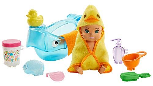 Barbie GHV84 - Skipper Babysitters Inc. Badezeit Spielset, Baby Puppe mit Farbwechselfunktion, Badewanne und Zubehör, Spielzeug ab 3 Jahren
