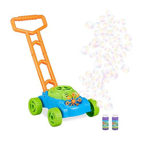 Relaxdays 10024939 Seifenblasenmaschine 'Rasenmäher', Spielzeug zum Schieben, Seifenblasen für Kinder, Batteriebetrieb, blau-grün