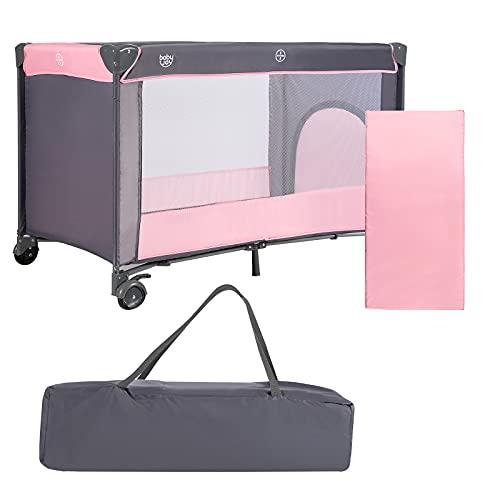 COSTWAY 2 in 1 klappbares Reisebett & Laufstall, 120 x 60cm Kinderbett, 2 Ebenen Babybett mit Matratze und Tragetasche (Rosa)