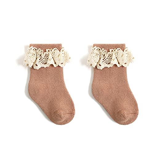 Babysocken Prinzessinnensocken aus gekämmter Baumwolle für Babys und Kinder Hohe Socken Spitzenkante Winter Warm halten Kälteschutz Beiläufig Socke