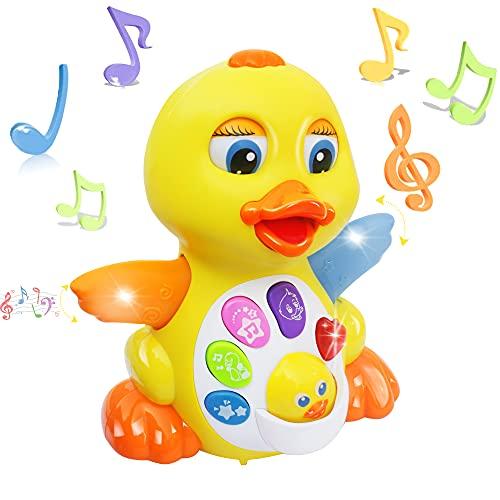 MOONTOY Tanzendes Musik Spielzeug - Musikalisches Lehrreiches Spielzeug für Mädchen Jungen - Tanzspaß Ente Interaktives Baby Spielzeug mit einstellbarem Klang für Kleinkinder, Kinder ab 1,2,3 Jahre