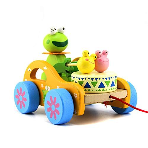 FakeFace Baby Trommel Frosch Spielzeug Nachziehtier aus Holz, Auto mit Rad Push und Pull Spielzeug Nachziehspielzeug Ziehtiere ab 1 Jahr für Babys Kleinkinder
