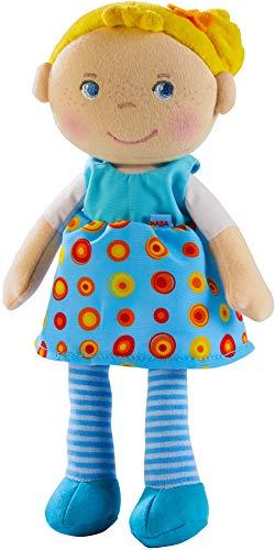 HABA 303731 - Kuschelpuppe Edda Weiche Stoffpuppe zum Spielen und Kuscheln , Babys erste Puppe aus weichen, waschbaren Materialien , Geschenk zur Geburt oder Taufe , Größe: 25 cm
