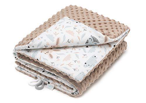 EliMeli Minky Babydecke Kuscheldecke Krabbeldecke - super weichem Minky Dots Polar Fleece und Baumwolle mit Füllung | Baby Decke 75x100 hoch Qualität (Beige - Eulen und Hasen)
