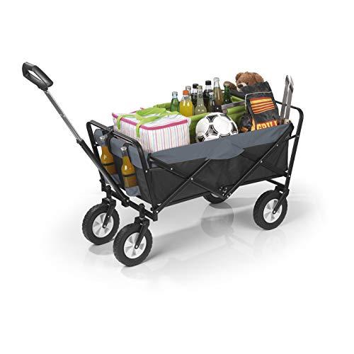 EASYmaxx Bollerwagen klappbar | Transportwagen mit Aufbewahrungstasche, verstärkter Achse und Gestell pulverbeschichtetes Stahlgerüst [Tragkraft: 80 kg]