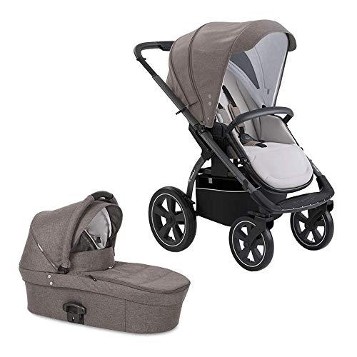 X-lander Kinderwagen 2 in 1 X-Move Komplettset Buggy Babywanne Kombikinderwagen Baby Kinderwagen mit Luftreifen Baby stroller Kinderwagen Set Gelände (Evening grey)