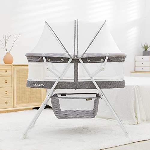 besrey Babywiege Stubenwagen Beistellbett Babybett Reisebett mit Schaukelfunktion, faltbar, klappbar, tragbar, höhenverstellbar. Grau.