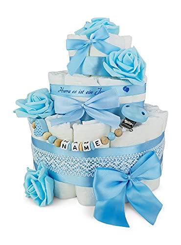 Premium Baby Windeltorte   3-stöckig mit Rosen in blau & Schnullerkette mit Namen   perfektes Mädchen Geschenk zur Geburt, Taufe, Babyparty