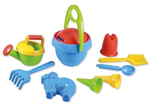Lena 5420 Happy Sand Spielset Jungs I, Sandspielzeug mit 10 Teilen für Kinder ab 2 Jahren, Strandspielzeug mit Eimer, Sieb, Schaufel, Rechen, Gießer, Eislöffel, 2 Eistüten und 2 Formen, Mehrfarbig