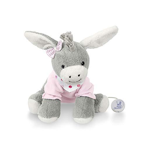 Sterntaler 6011838 Mädchen Spieluhr, Stofftier Esel Emmi Girl, Austauschbares Spielwerk, Größe: M, Grau/Rosa