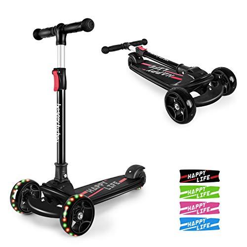besrey Kinderroller Kinderscooter Kinder Roller Kickscooter für Kleinkind 3 Räder höhenverstellbar mit LED leuchtenden Räder ab 3 bis 8 Jahren - schwarz