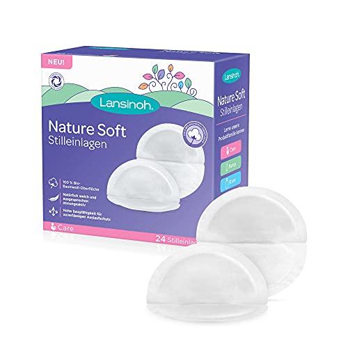Lansinoh Nature Soft Stilleinlagen, 24 Stück - 100% Bio-Baumwoll-Oberfläche - natürlich weich & atmungsaktiv - hohe Saugfähigkeit - klimaneutral