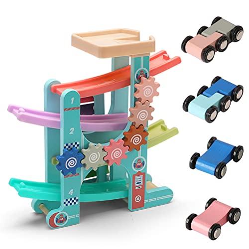 Stylebest Hölzernes Rennbahn-Auto-Rampenspielzeug für Kleinkinder, Farbfahrzeugbausatz mit 4 Mini-Rennwagen, Feinmotorik Montessori-Baulernspielzeug