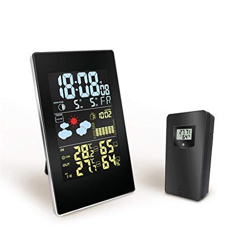 huichang - Decor Thermometer mit digitaler Anzeige, digitaler Anzeige, Thermometer, Feuchtigkeit, Wanduhr, LCD-Alarm, Kalender, Wetterkalender, ideal für Haus, Restaurants und Cafés