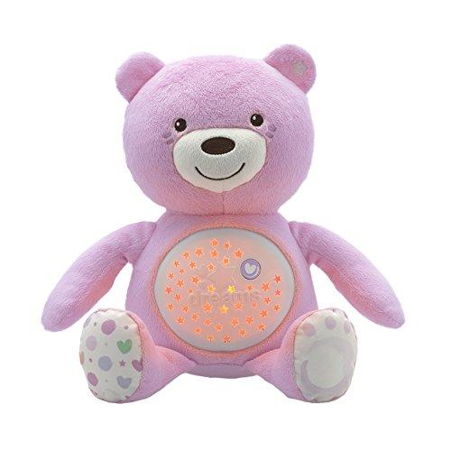 Chicco Baby Bär, Nachtlicht Projektor mit Farbwechsel und 30 Min. Musik, Plüsch-Teddybär, Babyspielzeug, rosa