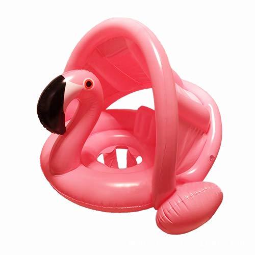 mciskin Flamingo Baby Schwimmring Baby Schwimmhilfe Baby Pool Schwimmring mit Sonnenschutz – Aufblasbarer Schwimmreifen für Kinder ab 6 Monaten bis 48 Monaten(Rosa)