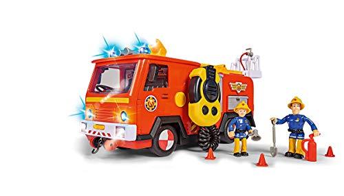 Simba 109251085 Feuerwehrmann Sam Ultimate Jupiter, Feuerwehrauto mit 2 Figuren, Licht und Sound, Wasserspritzfunktion, Seilwinde, ab 3 Jahren