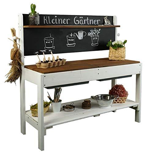 Meppi Matschküche Kleiner Gärtner, Weiss - braun - Outdoorküche aus Holz / Pflanztisch für Kinder / Basteltisch für draußen