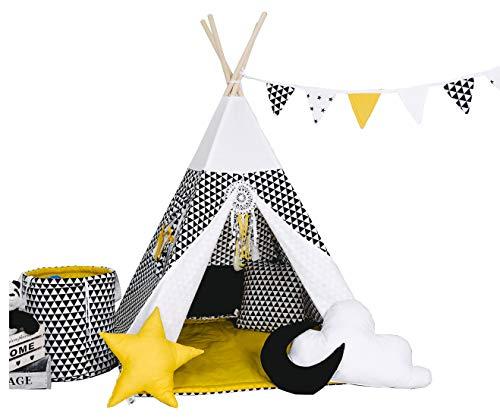Kinder Spielzelt Teepee Tipi Set für Kinder drinnen draußen Spielzeug Zelt Indianer Indianertipi Tipi mit & ohne Zubehör (mit Zubehör, Gelbes Dreieck)