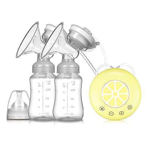 jjff Elektrische Doppelmilchpumpe, Elektrische USB-Milchpumpe Mit Babymilchflasche, Kaltes Wärmekissen BPA-freie Leistungsstarke Milchpumpen.