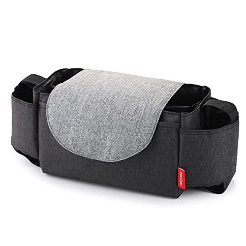 SONARIN Baby Kinderwagen Organizer Tasche, große Kapazität Pram Buggy Organizer Aufbewahrungstasche mit Telefontasche und Deep Cup-Halter, Verwendet als Handtasche, Universal Fit(Schwarz)
