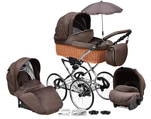 SKYLINE Klassisch Retro Stil Wicker LUX Kombi-Kinderwagen Buggy 3in1 Reise System Autositz (Isofix) (Chocolate Brown/17'Räder)