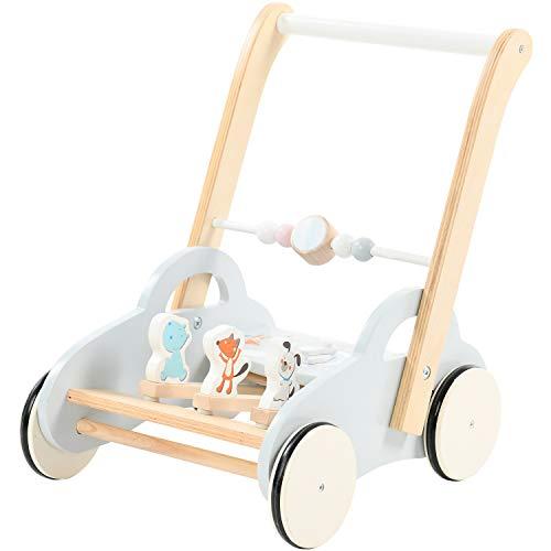 labebe Baby Lauflernhilfe Holz Auto Grau Lauflernwagen mit Uhr Push Pull Spielzeug Activity Babywagen für Kinder ab 1 Jahre