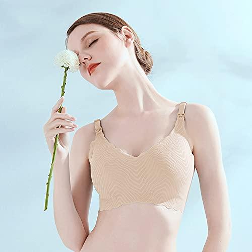 WENJUN Still-BH für Damen, zum Schlafen und Stillen, bügelfrei, unterstützt Schwangerschaftsbralette (Farbe: Hautton, Größe: S)