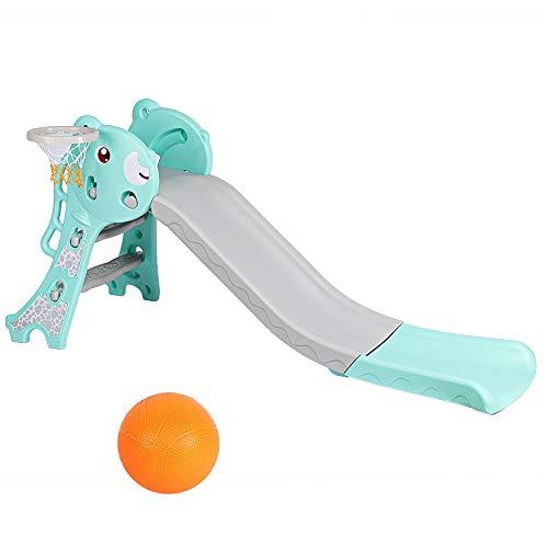 Dioche Rutsche Kinder,Aktivitätszentrum mit Spielzeugrutsche Slide mit Basketballkorb,Verdickung Falten Kleinkinderrutsche Kunststoff Für Kinder