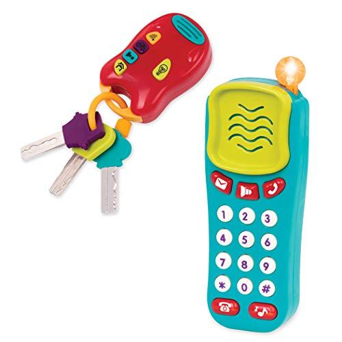 Battat – Baby Spielzeug Schlüssel und Handy mit Lichtern und Tönen – Schlüsselbund Autoschlüssel und Spielzeugtelefon für Kinder ab 10 Monaten (2 Teile)