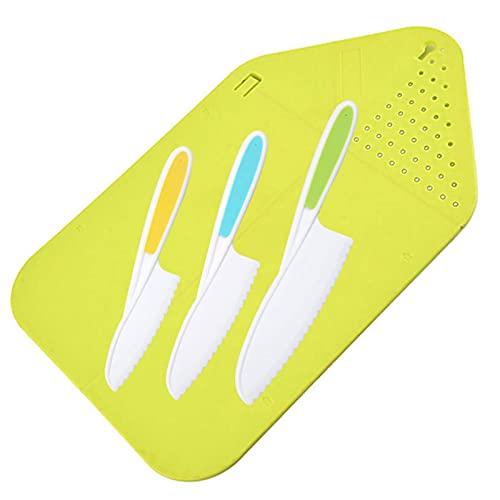 Kinderkoch Set 4 Teilig Kinder Kochmesser Kunststoffgriff Küchenmesser Kindermesser, Kinder Kochmesser und Schneidebrett Set Kinder Nylonmesser mit Schneidebrett (Grün)
