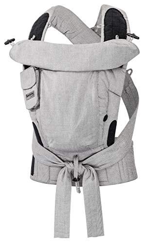 Bondolino Plus Babytrage ab Geburt Bauchtrage Rückentrage verstellbarer Steg, Design grau-meliert