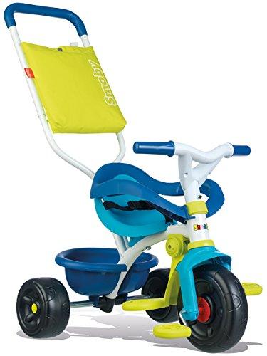 Smoby - Be Fun Komfort Dreirad (blau) – für Babys und Kinder ab 10 Monaten - verstellbares Kinderdreirad mit Schubstange und praktischem Zubehör