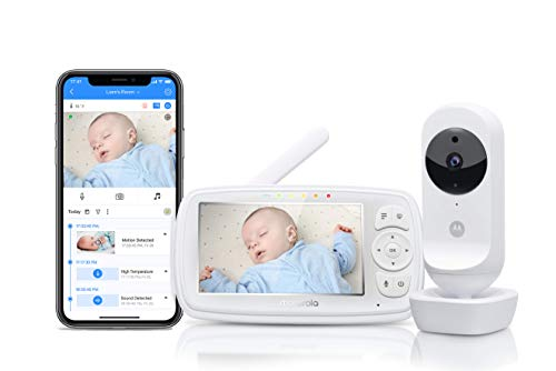 Motorola Baby Ease 44 Connect - Wi-Fi Babyphone mit Kamera – 4,3 Zoll Video Baby Monitor HD Display - Hubble App - Nachtsicht, Wiegenlieder, Microfon, Raumtemperaturüberwachung - Weiß