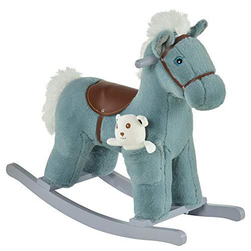 HOMCOM Kinder Schaukelpferd Baby Schaukeltier mit Tiergeräusche Spielzeug Haltegriffe für 18-36 Monate Plüsch Blau 65 x 26 x 55 cm