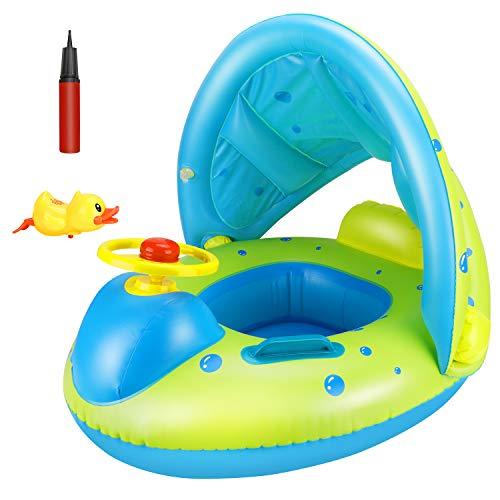 Tencoz Baby Schwimmring, Baby Schwimmen Ring mit Abnehmbarem Sonnendach und Pumpe, Aufblasbarer Schwimmsitz Baby Float Ring Baby Schwimmhilfe Schwimmtrainer für Kinder 12 bis 48 Monaten (18KG)