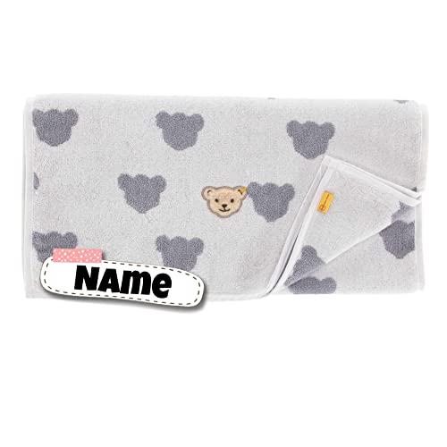 Steiff Baby Handtuch personalisiert | 50 x 100 cm | Kinderhandtuch mit Name | Babyhandtuch mit Namen | Kinderhandtuch | Badetuch Bestickt mit Name | Baby Erstausstattung | Baumwolle (Teddy grau)