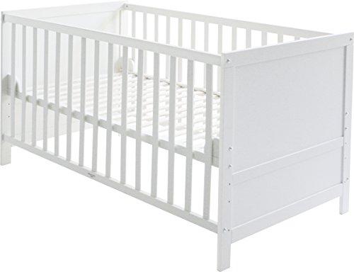 roba Kombi Kinderbett, 70x140 cm, Babybett Holz weiß, 3-fach höhenverstellbar, Baby- bzw. Kinderbett mit Schlupfstäben umbaubar zum Juniorbett