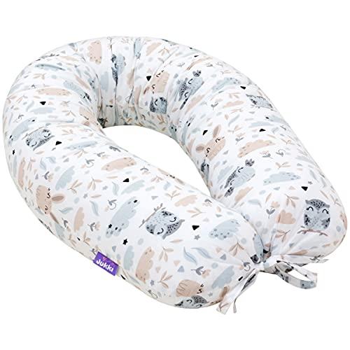 Jukki® Stillkissen, Seitenschläferkissen, Schwangerschaftskissen XXL, Kissen 170 cm für Mutter und Baby, Lagerungskissen, mit Bezug aus 100% Baumwolle, Baby Pillow,