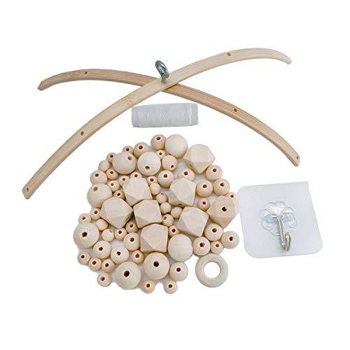 witgift DIY Handgemacht Holzmobile Windspiel Bettglocke Glocke Zimmer,Natürliche Handwerk Holz Ringe Beads Baby Mobile Kit für Kinderzimmer Dekor