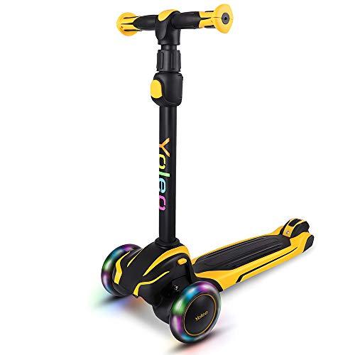 YOLEO Kinder Scooter Roller, Kinder Roller mit LED Leuchtenden Räder, Dreiradscooter 4 Höhenverstellbare für Jungen & Mädchen im Alter von 3-12 Jahren, bis 75kg blasbar, Gelb