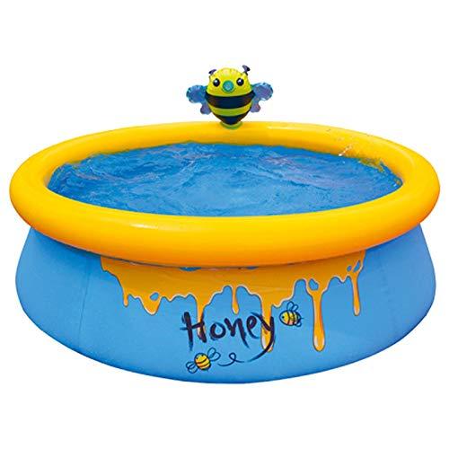 ZQYX Bienenschwimmbad, Rutschfestes PVC Kinderpaddelbecken Mit Bienensprinkler, Aufblasbares Haustierbecken Im Freien, Verschiebbares Spielbecken, Kinderbecken Für Kinder Über 3 Jahren Männer Frauen