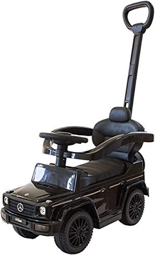 Rutscherauto Mercedes G350d mit Schiebestange, Babyrutscher mit Sicherheitsbügel und Fußstütze, Kinderfahrzeug, Rutschauto