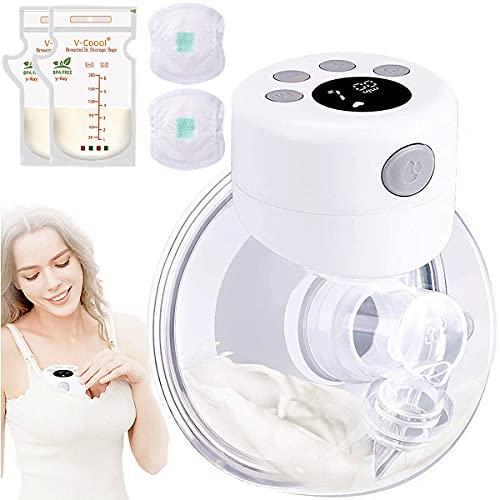 Milchpumpe elektrische milchpumpe tragbar Massage Milchpumpe,automatische stille Milchpumpe mit 2 Modi und 9 Stufeneinstellung-Wiederaufladbar Brustpumpe(inklusive 10 Pads &10 muttermilchbeutel)