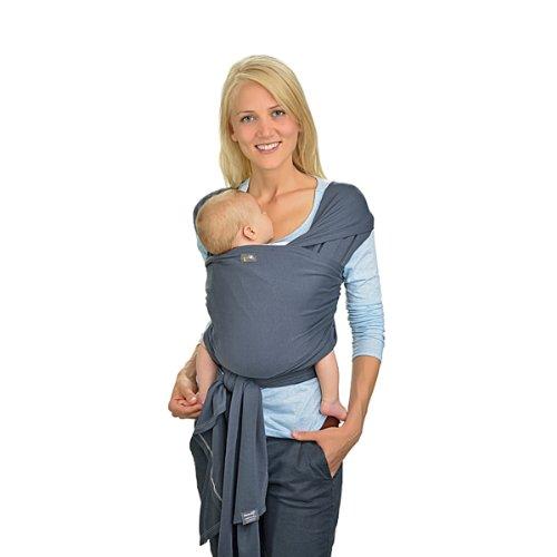 Hoppediz Elastisches Tragetuch ✓ für Frühgeborene ✓ für Neugeborene ✓ für Babys bis 9 kg ✓ 100% Bio-Bauwolle (GOTS) ✓ inkl. bebilderter Trageanleitung   4,60 x 0,50 m, Anthrazit