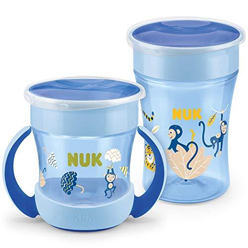 NUK Magic Cup Trinklernbecher Duo Set   Magic Cup 230ml + Mini Magic Cup 160ml mit Ergonomische Griffe   auslaufsicher 360° Trinkrand   BPA-frei   6+ Monate   Affe (blau)