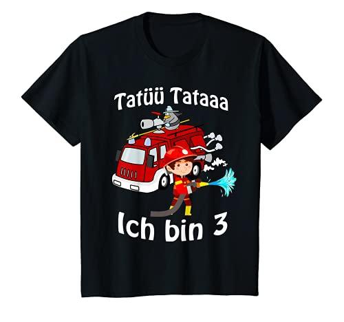 Kinder Feuerwehrmann mit Feuerwehrauto 3 Jahre Geburtstagsgeschenk T-Shirt