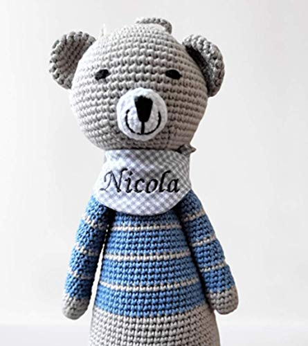 ds-handmade handgefertigte Baby Spieluhr - mit Namen personalisierte Baby Geschenke Junge - Teddy - Melodie: LaLeLu - 24 cm - Grau/Blau