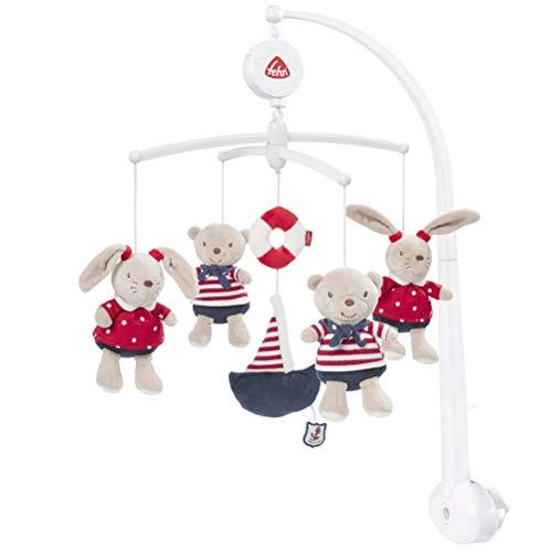 Fehn 078190 Musik – Mobile Ocean Club – Spieluhr – Mobile mit Teddys – Melodie 'Der Mond ist aufgegangen' – Zum Befestigen am Bett für Babys von 0 – 5 Monaten – Höhe: 65 cm, ø 40 cm